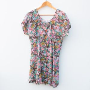 Vintage | One Size Floral Button Tie Back Dress
